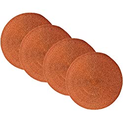 "Benson Mills Sparkle Round Placemats (Copper/Orange/Rust, 15"" Round Set of 4)"