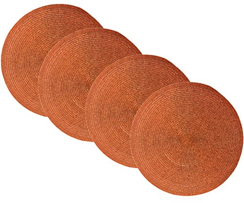 Benson Mills Sparkle Round Placemats (Copper/Orange/Rust, 15
