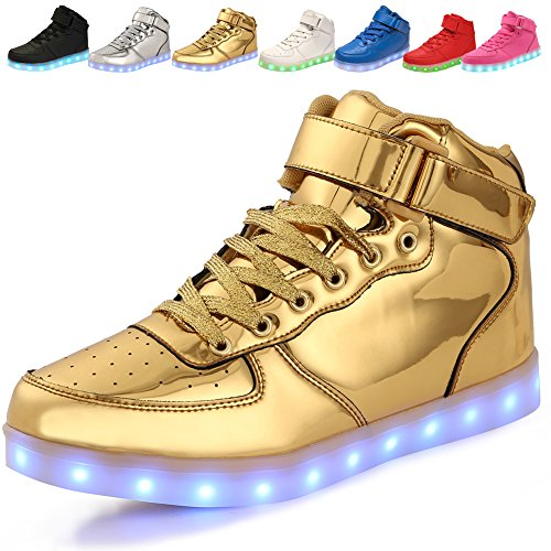 Price comparison product image adituo Kids Girls and Boys High Top USB Charging LED Shoes Flashing Sneakers(Toddler / Little Kid / Big Kid) gold25