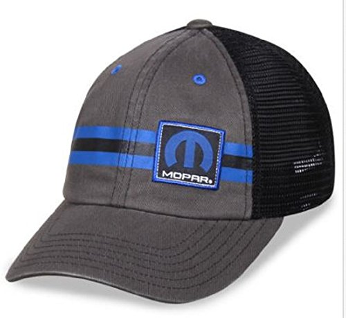Mopar Parts Dodge Jeep Chrysler Plymouth Hat Black & Charcoal (Plymouth Charcoal)