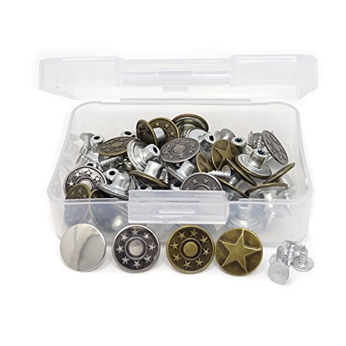 Honbay 40 Sets Jeans Buttons Jacket Buttons Metal Tack Button for Jeans with Rivets Storage Box
