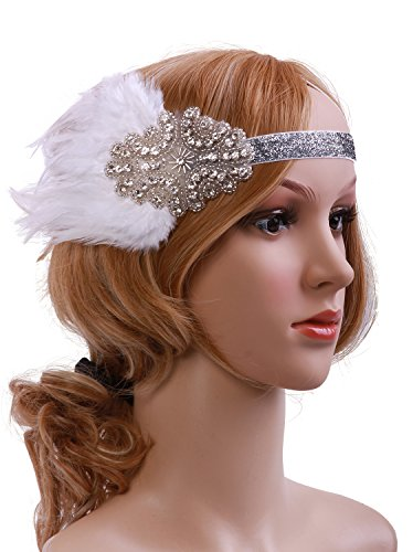 [Vijiv Vintage Black Feather Silver 20s Headpiece 1920s Flapper Headband] (1920s Flapper Hairstyles)