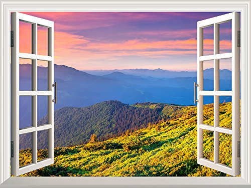 Removable Wall Sticker Wall Mural Beautiful View of Mountain Range at Sunrise Creative Window View Wall Decor