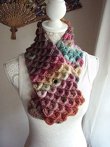 Dragon Scale Wool Blend Short Button Front Convertible Scarf Strawberry Fields