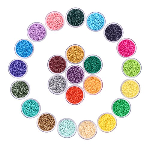 (PandaHall Elite 24 Boxes of About 40800 Pcs 13/0 Multicolor Beading Glass Seed Beads 24 Colors Opaque Round Pony Bead Mini Spacer Beads Diameter 2.3mm with Container Box for Jewelry Making)