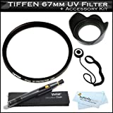 Tiffen 67mm UV Protection Filter Bundle Kit For For Canon EOS T4i, 60D, EOS 7D, T3i, T3, T2i, T1i, Xsi, EOS 5D, EOS-1Ds , EOS-1D, EOS-1D X, DSLR + 67mm Lens Hood + LensPen + More That Use (EF 100mm, 24-85mm, 70-200mm, 70-300mm, 17-85mm, 18-135mm, Lenses)
