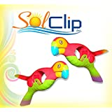 Beach towel clips - Red Parrot, SolClip / Canada.