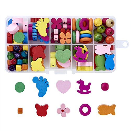 Pandahall 10 Styles Mixed Colors Painted Wood Beads Kits for Children's Day Gift DIY Kids Craft Bracelet Necklace Making