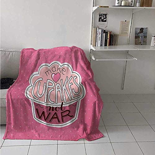 maisi Funny Words Throw Blanket Make Cupcakes Motivational Lettering on Yummy Pastry and Polka Dots Velvet Plush Throw Blanket 60x36 Inch Pink Dried Rose Peach]()