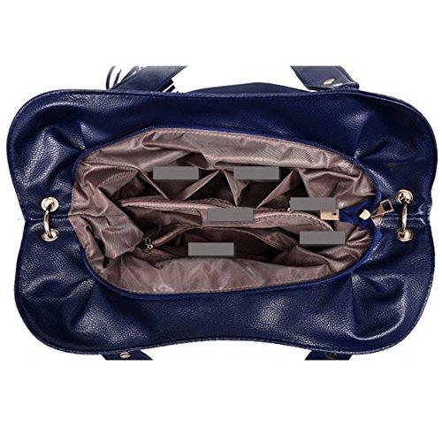 Myleas Frauen weiche Handtasche Top Griff Schultertasche Messenger Tasche Braun 82SiPN