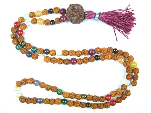 Chapelet Yoga Mogul Intérieur Mala Navaratan Rudraksha pour la méditation , prière de guérison Malas , Collier Saint