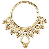 Tribal Septum Ring with Teardrops in the Middle (Gold Anodized)