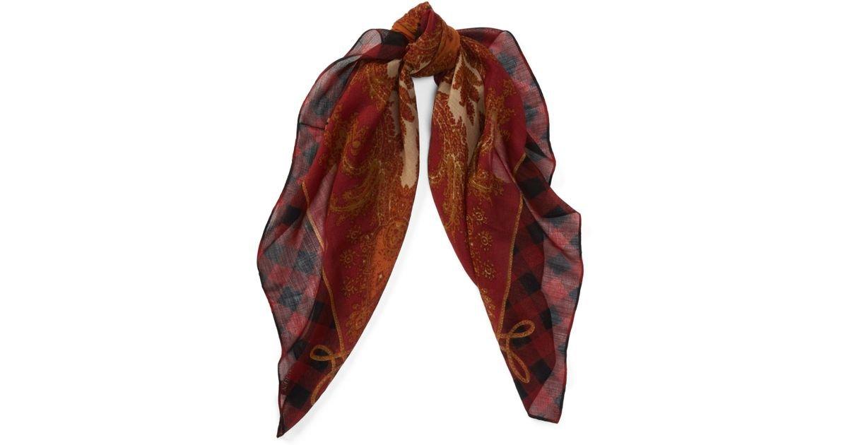 Lauren Ralph Lauren Women`s Checked Wool Scarf (Red (620), One Size)