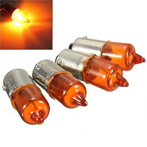 Pink Lizard 4pcs 12V 23w Motorcycle Turn Singal Indicator Bulb BA9S Base Mini Amber Halogen Pink Lizard Products