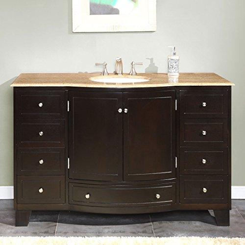 Silkroad Exclusive HYP-0703-T-UWC-55 Travertine Top Single White Sink Bathroom Vanity with Espresso Cabinet, 55