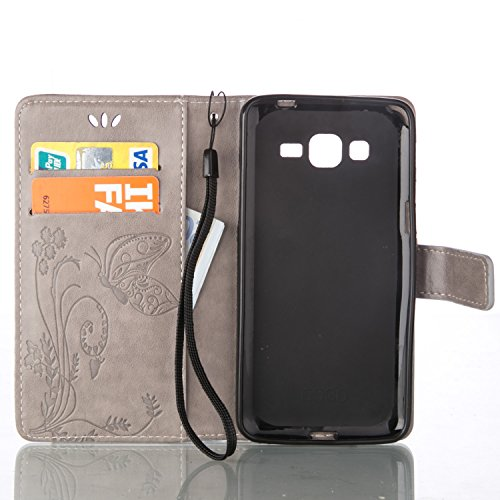 JIALUN-Personality teléfono shell Funda Samsung Galaxy G350, estuche rígido retro de folio en forma de cartera con correa para la mano Funda Protecitve Shell para Samsung Galaxy G350 Seguridad y Moda  Gray