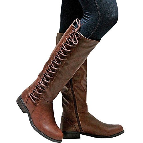 Ivay Womens Tall Riding Faux Leather Boots Lace Up Zipper Side Ladies Shoes