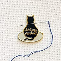 Black Stitching Assistant Black Cat on Embroidery Hoop Enamel Needle Minder
