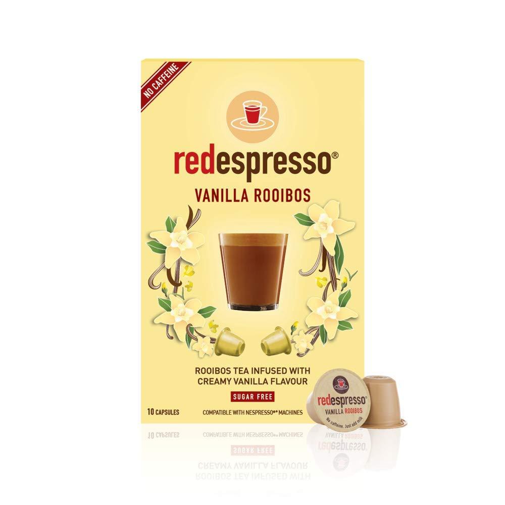 Rooibos Tea Vanilla - Red Espresso - South African - Pods Compatible with Nespresso machines - Vegan, Non GMO, Antioxidant, Calming (10 Pods)