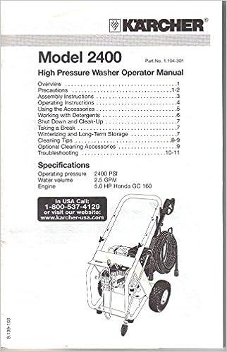 Karcher Model 2400 High Pressure Washer Operator Manual Owners