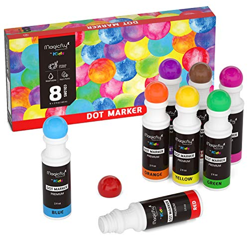 Paint Dabber - Magicfly Washable Dot Markers, 8 Colors Non-Toxic Paint Dauber for Kids, Toddlers