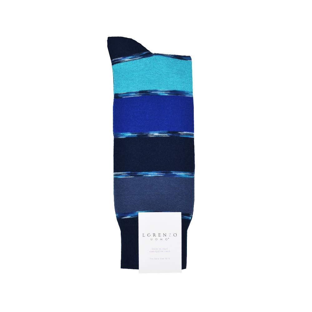 Lorenzo Uomo Stripe Dress Sock in Blues