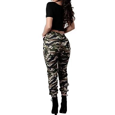 double coupon grande remise grande vente au rabais OVERDOSE Pantalon Militaire Motif Camouflage, Femme Imprimé Casual Loose  Taille Haute Trousers