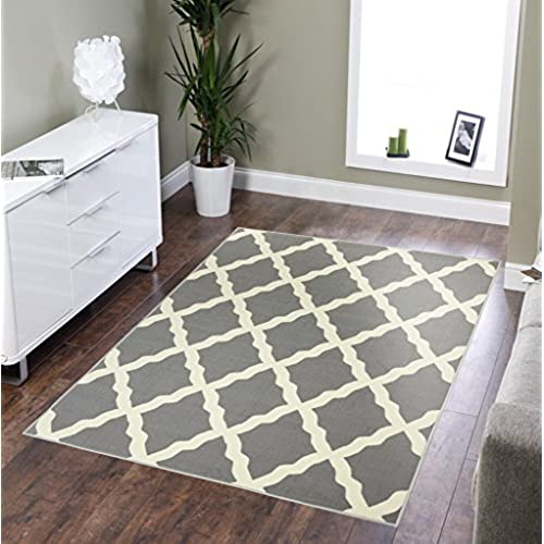 ottomanson glamour collection contemporary moroccan trellis design kids rug non slip kitchen and bathroom mat rug 33 x 50 grey - Washable Area Rugs