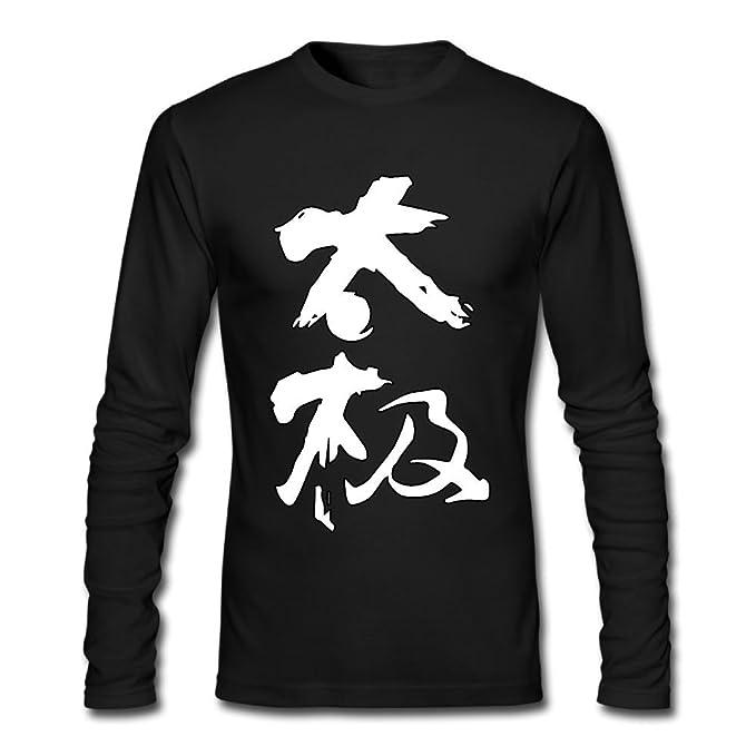 Tai Chi Chinese Characters Tai Chi Mens Long Sleeve Crewneck T