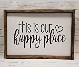 Farmhouse style, This is our Happy Place, chunky framed sign. Bible verse sign, handpainted sign