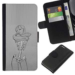 KingStore / Leather Etui en cuir / Apple Iphone 5C / Cráneo Sexy Girl Gris Mujer Esqueleto
