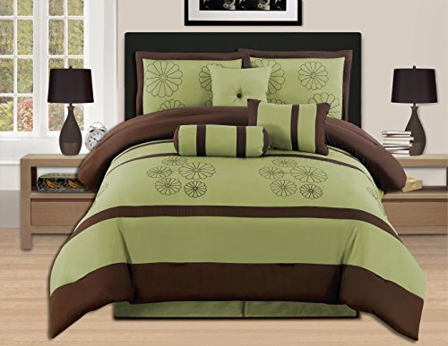 (7 Pieces Luxury Embroidery Queen Sage Brown Comforter Set Bed-in-a-bag (Oversize) Bedding- Hs)