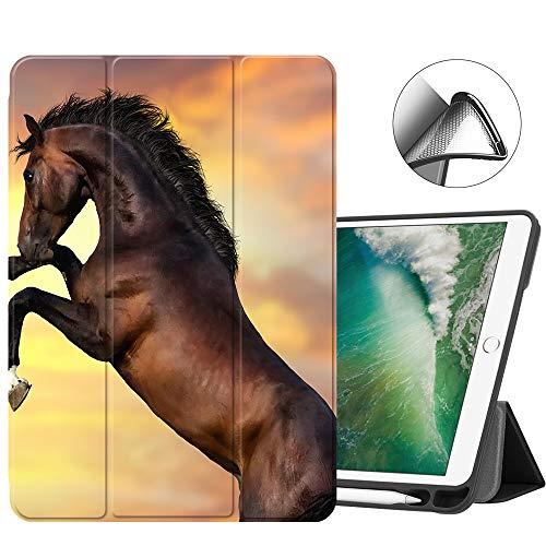 Teke Akhal Horse Horses - MTAOTAO iPad 9.7 2018 2017 Case 9.7-inch iPad 6th 5th Gen Case A1893 A1954 A1822 A1823,Trifold Stand TPU Back Smart Cover for Apple iPad Air 2/iPad Air 1 A1474/A1475/A1476/A1566/1567 -Akhal-teke Horse