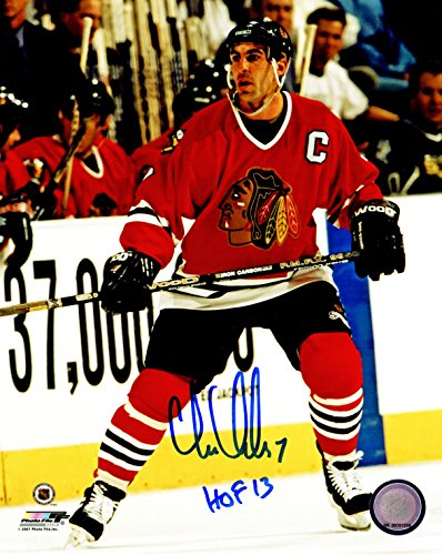 Chris Chelios Signed Detroit Redwings 2002 Stanley Cup Trophy 8x10 Photo ()