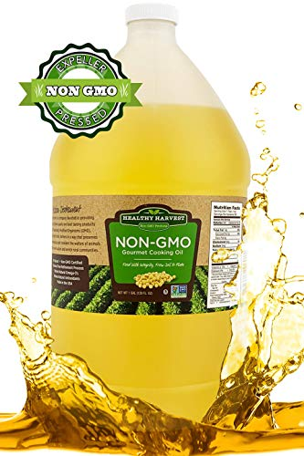 Healthy Harvest Non-GMO Gourmet Soybean Cooking Oil - Healthy Cooking Oil for Cooking, Baking, Frying & More - Naturally Processed to Retain Natural Antioxidants {One Gallon - 128 oz.} (Best Healthy Cooking Oil For Frying)