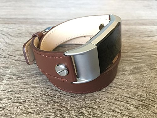 Designer Brown Double Wrapped Eco Friendly Leather Bracelet For Fitbit Charge 2 With Silver Rivets Handmade Replacement By Simeon D -