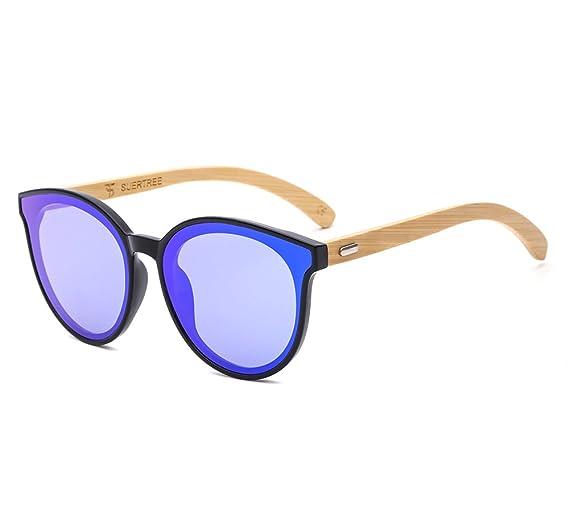 32b961b58b24b5 SUERTREE Bamboo Sunglasses Cute Women Men Cat Eye Shades Vintage Retro  Summer Rimless Eyeglasses JH8003 (