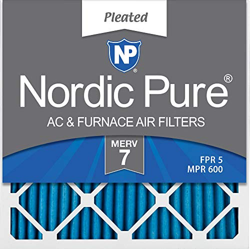 Nordic Pure 12x12x1 MERV 7 Pleated AC Furnace Air Filters, 6 Pack, 12x12x1,