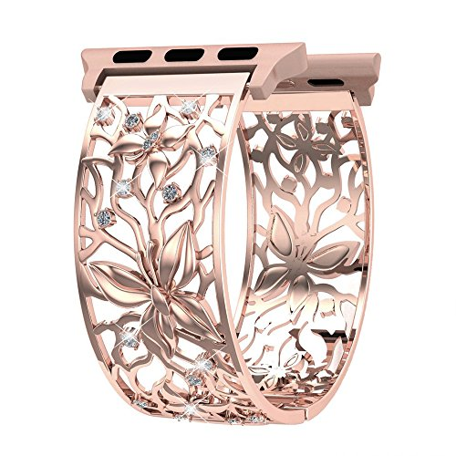 - Women Gilrs Apple Watch Band 38mm Rose Gold, Breathable Crystal Butterfly Relief Hollow Replacement Strap for Apple Watch Series 3, 2, 1, Sport and Nike+, Fashion Jewelry Wristbands