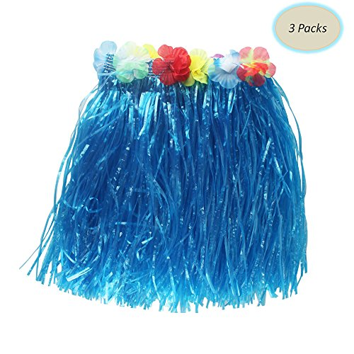 Skirt Color Multi Hula Grass (YL trd V 3 Packs of Hawaiian Grass Skirt Hula Grass Skirts for kids and adults)