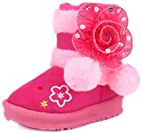 Femizee Toddler Girls Winter Boots, Cute Warm Pom Pom Side Flower Dress Snow Booties,Hot Pink,1942 CN25