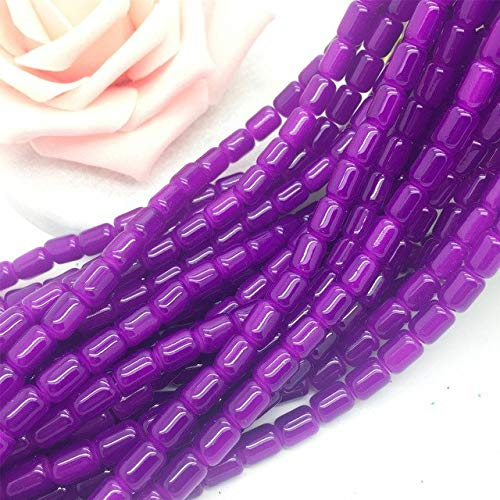 Ceramic Tube Beads - Calvas 30Pcs 6X8mm Cylinder Glass Spacer Loose Beads Jewelry Making#IM09 - (Color: 09, Item Diameter: 6mm)