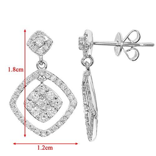 Revoni Bague en or blanc-18carats-Diamant 0.65Cts Dangle-Boucles d'Oreilles Pendantes Femme-Carré