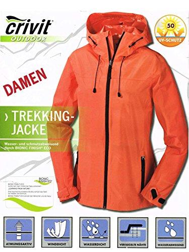 CrivitOutdoor® Damen Trekking Jacke - Atmungsaktiv, Wind- und Wasserdicht (Orange, 40)