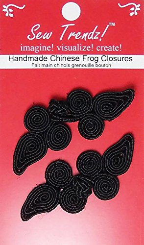 Renaissance Paisley - Chinese Frogs Button Closures Hook & Eye Fastener - Sewing Quilting Renaissance Dance Hawaiian Bridal Costumes Outfit Drapery Home Decor- Black-Paisley Design - 2 Pair/pk - #FG03