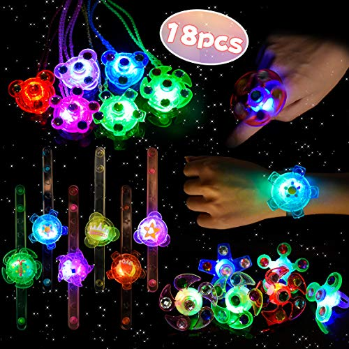 Class Halloween Party (LEEHUR LED Party Favors Set for Kids 18pcs Light Up Glow in the Dark Toys Bling Flashing Hand Spin Ring Necklace Bracelet for Girl Birthday Class Prize Halloween Christmas Party)