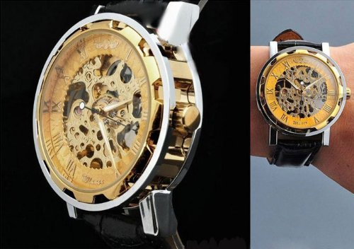 ABASSKY Men's Black Leather Gold Dial Skeleton Mechanical Sport Wrist Watch