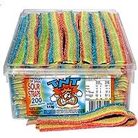 TNT Rainbow Sour Belts 200 Count 3lb - 1.4kg Sugar Coated Belts - Candy Buffet - Party Favor Bags - Boxes Sweets Bulk