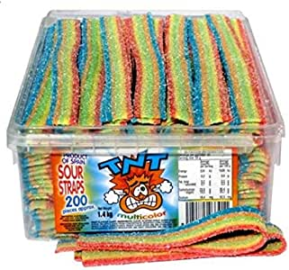 TNT Rainbow Sour Straps 200 Count 1.4kg Bulk Sugar Coated Belts For Kids Birthday Party Hens Party Baby Shower Halloween Lolly Favours For Candie Bags Box Candy Buffet Bar Or Sweet Treats For DIY Hampers Gift Basket