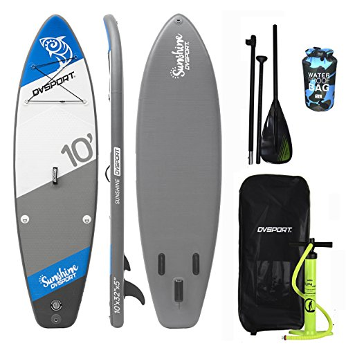 - DVSPORT Inflatable 10` Stand Up Paddle Board(5 Inches Thick)| Double layers Complete Package ISUP| Includes Adjustable Aluminum Paddle|Travel Backpack|BRAVO Double Function Hand Pump| Water Proof Bag